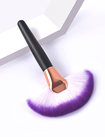 Fashion Single White Purple Color Makeup Brush With Wooden Handle And Aluminum Tube Nylon Hair