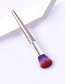 Fashion Single Champagne Gold Color Makeup Brush With Wooden Handle And Aluminum Tube Nylon Hair