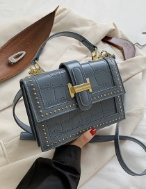 Fashion Blue Stone Pattern Lock Rivet Shoulder Messenger Bag