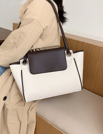 Fashion Coffee Color Stitching Contrast Color Shoulder Messenger Bag