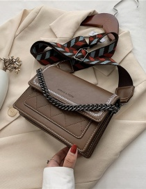 Fashion Brown Chain Embroidery Thread Wide Shoulder Strap One-shoulder Messenger Bag