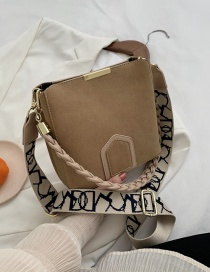 Fashion Khaki Frosted Braided Rope Shoulder Strap One-shoulder Messenger Bag