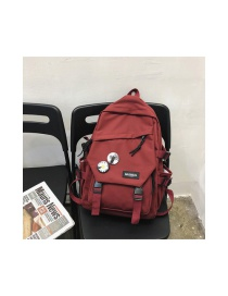 Fashion Red Wine Logo Flap Backpack With Buckle