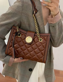 Fashion Brown Locking Diamond Chain Shoulder Messenger Bag