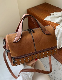 Fashion Brown Studded Frosted Zip Shoulder Crossbody Bag