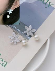 Aretes De Perlas De Acrílico Con Flor