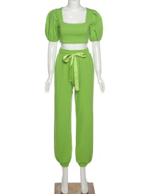 Fashion Green Lantern Sleeve Square Neck T-shirt High Waist Pants Set
