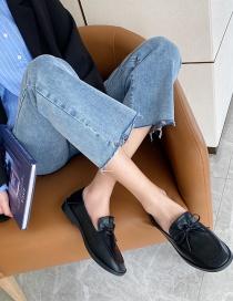 Fashion Black Soft Sole Bow Square Toe Shoes