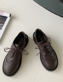 Fashion Dark Brown Mid-heel Stitching Lace-up Shoes