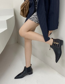 Fashion Black Leather Chunky Heel Belt Buckle Pointed Toe Boots