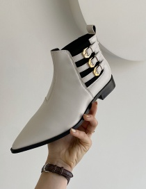 Fashion Milky Leather Chunky Heel Belt Buckle Pointed Toe Boots