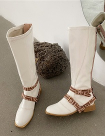 Fashion Milky Square Toe Patent Leather Thick High Heel Platform High Boots