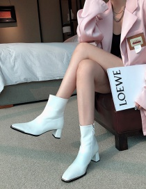 Fashion White Block Heel Square Toe Stretch Side Zipper Ankle Boots