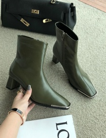 Fashion Green Block Heel Square Toe Stretch Side Zipper Ankle Boots