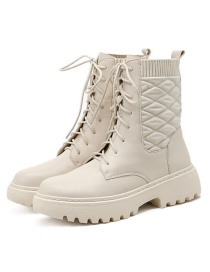 Fashion Creamy-white Platform Front Lace-up Solid Color Martin Boots