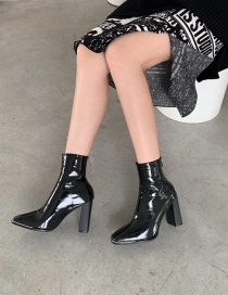 Fashion Black Stretch Patent Leather High-heeled Metal Square Toe Boots