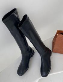 Fashion Black Piri Side Zip Block Heel Square Toe Flat Boots