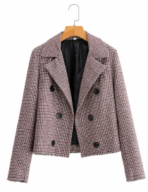Fashion Color Houndstooth Lapel Frayed Coat