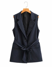 Fashion Navy Blue Striped Single-breasted Waistcoat With Belt