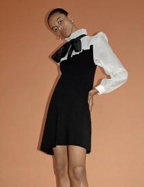 Fashion Black Paneled Knitted Ruffled Contrast Dress