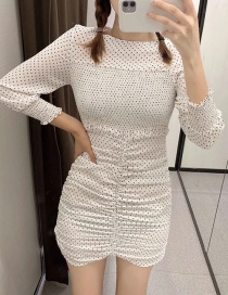 Fashion White Polka Dot Pleated Embroidered Hip Dress