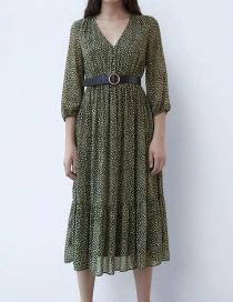 Fashion Dark Green Polka Dot Print With Belt Deep V Dress