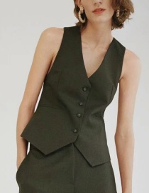 Fashion Dark Green Single-breasted Solid Color V-neck Slim Vest