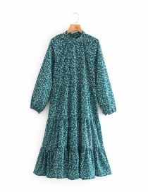 Fashion Green Printed Long Sleeve Dress With Belt