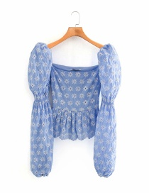 Fashion Blue Embroidered Square Neck Stitching Puff Sleeve Top
