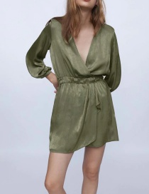 Fashion Green V-neck Waist Solid Color Long Sleeve Dress