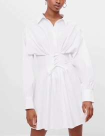 Fashion White Tie-up Solid Color Shirt Dress