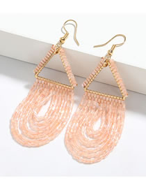 Fashion Pink Triangle Alloy Glass Tube Tassel Earrings