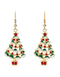 Fashion Color Christmas Tree Alloy Dripping Christmas Tree Earrings
