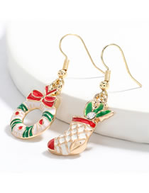 Fashion Christmas Boots And Garland Alloy Drip Oil Christmas Boots Wreath Earrings