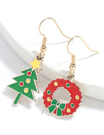 Fashion Christmas Tree And Garland Alloy Drip Oil Christmas Tree Wreath Earrings