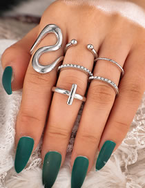 Fashion Silver Color Geometric Cross Round Open Ring Set
