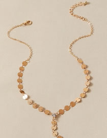 Fashion Gold Color Alloy Necklace With Round Diamond Pendant