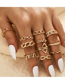 Fashion Gold Color Letter Chain Arrow Carved Hollow Love Ring Set