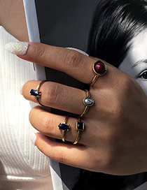 Fashion Gold Color Alloy Resin Geometric Ring Set