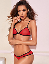 Fashion Red Mesh Perspective Contrast Color Ultra-thin Bra Set