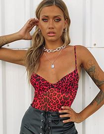 Fashion Scarlet Leopard Print Camisole With Chest Pad