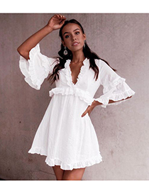 Fashion White V-neck Solid Color Dress With Ruffles