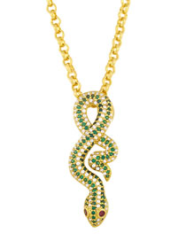 Fashion Gold Coloren Diamond And Gold-plated Snake-shaped Pendant Necklace