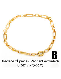 Fashion Chain Type B (without Letters) Thick Chain Geometric Hollow Copper Gold-plated Necklace