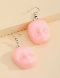 Fashion Pink Baby Face Resin Alloy Earrings