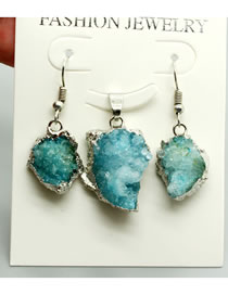 Fashion Blue Irregular Natural Stone Necklace And Earrings Set