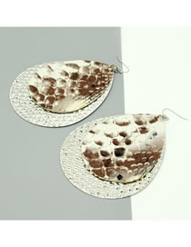 Fashion Silver Color Iron Sheet Snakeskin Drop-shaped Alloy Earrings