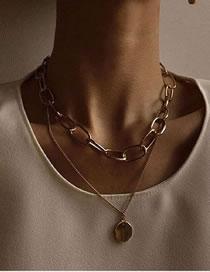 Fashion Gold Coloren Thick Chain Round Pendant Alloy Double Necklace