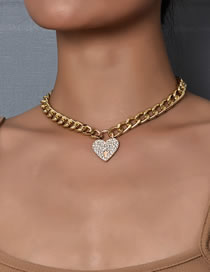 Fashion Gold Coloren Heart-studded Alloy Necklace