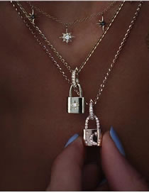 Fashion Silver Color Lock-shaped Diamond Chain Alloy Multilayer Necklace